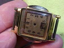 Elgin Art Deco Nos 10K Rgp wristwatch, dial, crown assembly