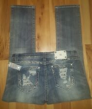NWT MISS ME Plus 34 jeans Standard Easy Straight LACE Metallic 34X31 FREE GIFT!