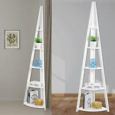 5 TIER WHITE CORNER FREESTANDING LADDER SHELF HOME DISPLAY BOOKCASE UK STOCK