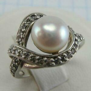 925 Sterling Silver Ring US size 5.75 Pinkish White Freshwater Pearl Stones  231