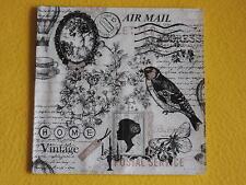 4 stück Servietten POETIE nostalgie 1/4 Vogel Schrift vinatge Brief air mail ker
