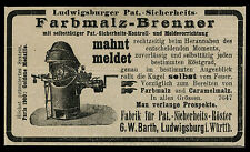 Alte Reklame Werbung 1904 Farbmalz-Brenner G. W. Barth Ludwigsburg i. Würtemberg