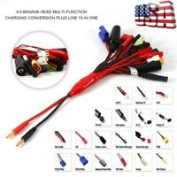 19 in 1 RC Lipo Battery Charger Multi Lead Adapter Cable 4mm Banana Plug Connect