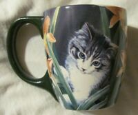 Lang GILDING THE LILIES Cat Ceramic Mug by Susan Bourdet Wild Wings RARE EUC