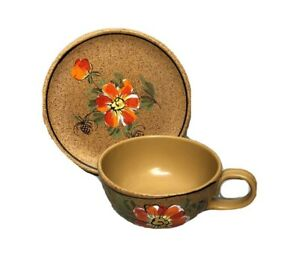Oversized Cup & Plate Ceramic Brown Splatter Red Flower Mid Century Italy