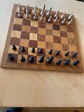 Retro großes Schachspiel & Schachbrett & Figuren - KH 7,5cm Platte 45x45cm