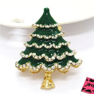 New Green Enamel Cute Christmas Tree Crystal Betsey Johnson Charm Brooch Pin