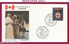W156 VATICANO FDC ROMA VISITA PAPA GIOVANNI PAOLO II CANADA VANCOUVER 1984