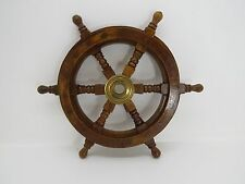 NEW 12+1/4 INCH WOOD AND BRASS BOAT SHIPS WHEEL SAILBOAT DECOR