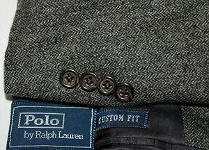 POLO RALPH LAUREN Italy Herringbone 38L Flannel Wool CUSTOM FIT Suit - Pants 34
