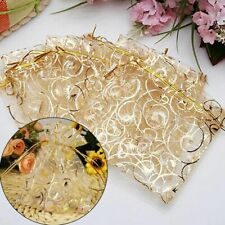 25x Organza Wedding Party Favor Bags Decor Gift Jewelry Candy Pouches Golden