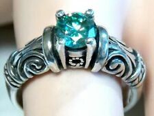 925 Sterling Silver Scroll Usa Made Blue Green Moissanite Ring Size 6.5 Antique