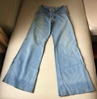 VINTAGE Men's Bell Bottom Jeans from Brittania 32 inch waist with Leather Accent