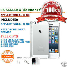 APPLE IPHONE 5 16GB White & Silver UNLOCKED 4G PHONE GRADE C & Free Gifts