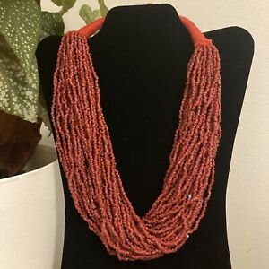 Gerda Lynggaard Chunky Red Seed Bead Necklace unsigned