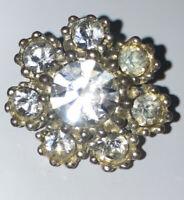 Vintage Costume Jewellery  Little Rhinestone Flower Silver Tone Brooch