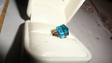 10kt Ring GOLD-SIZE 7 beauty teal cube art sculpture-rj27-92 Fast S/H