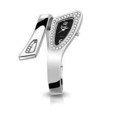 Top Edle Fame Damenuhr Spangenuhr Silber Schwarz Strass Design Armbanduhr Uhr