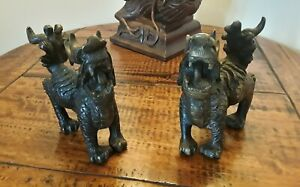 Vintage/Antique  Chinese Bronze Brass Metal Guardian Lions Fu Foo Dogs Pair