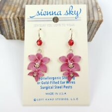 Sienna Sky Earrings UV Print Pink Orchids 14K Gold Filled Hook Handmade Unique