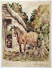 More details for anton lock (1893-1971) watercolour painting. study of a horse, 1943. signed
