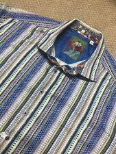 ROBERT GRAHAM MEN'S BUTTON DOWN SHIRT 3XL XXXL Blue Striped Contrast Cuff SKULLS