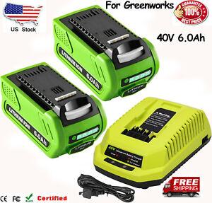 40V 6.0Ah For Greenworks G-MAX Li-ion Battery 29472 29462 29252 20202 or Charger