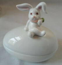 Fitz & Floyd Bunny Rabbit with a Carrot on an Egg Candy Dish - Trinket Box
