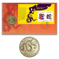 Australia 2013 Year of The Snake Mini Sheet Stamps & $1 UNC Coin Cover - PNC