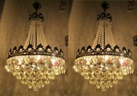 Pair of Antique French Basket Style Crystal Chandelier Lamp Light 1940's 16in Dt