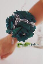 Teal Vein Rose Rhinestone Wrist Corsage Wedding Bridal Prom Military Ball Party