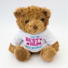NUOVO-BEST MUM nel mondo Teddy Bear-Maglietta bianca-Mamma Madre Regalo