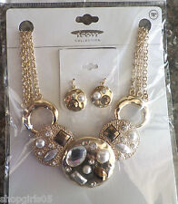 TRENDY  BROWN/GOLD COLOR JEWEL  NECKLACE AND EARRING SET