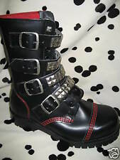 New Underground England Pramid Strap Buckle Stud Boots Gauntlet Punk Rocker UK 7