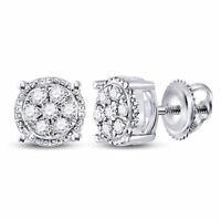 10k White Gold Womens Round Diamond Flower Cluster Stud Earrings 1/6 Cttw