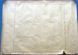 ANTIQUE NAUTICAL MARITIME CHART CIRCULATION NORTH ATLANTIC AUGUST 1911 US NAVY.