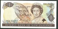 New Zealand CFU 1st Prefix $1 AAA054311 QE2 Redesign Hardie Banknote Issue p169a