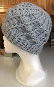 Women's SWIRL BEANIE HAT Light Blue crochet handmade Acrylic yarn chunky warm