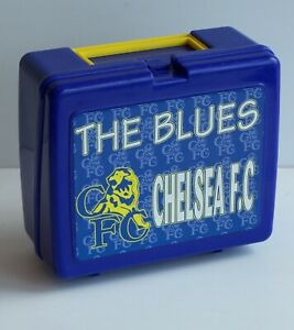 VINTAGE CHELSEA FC THE BLUES SUPPORTER LUNCH BOX w THERMOS DRINK BOTTLE FLASK