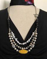 "Necklace 3-strand Carved Tridacna W Turquoise Boho 28"" Artisan handmade USA 1496"