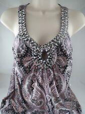 INC pink/black white paisley beaded sleeveless top, sz m, NWT