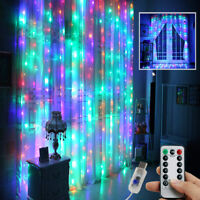 300 LED Curtain Fairy Lights USB String Hanging Wall Lights Remote Xmas Party US