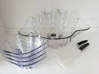 "Clam Sea Shell Vtg Lucite Acrylic 19"" Serving Bowl 4 Salad Side Bowls Tongs Set"