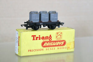 TRIANG T276 TT GAUGE BR BLACK CONFLAT WAGON 229 with CONTAINER LOAD