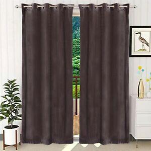 Solid Pattern Room Darkening Velvet Grommet Curtain Drapes For Window & Door