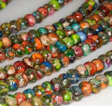 6X4MM  RAINBOW IMPERIAL JASPER GEMSTONE GRADE AA RONDELLE 6X4MM LOOSE BEADS 16""