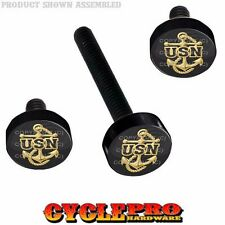 Black Billet Fairing Windshield Hardware 14-Up Harley Touring - USN NAVY ANCHOR
