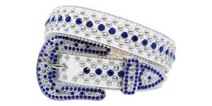 Men's Karma White/Blue Leather Rhinestone Studded Belt - L