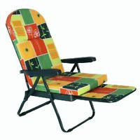sedia poltrona relax sdraio mod ovale con prolungae braccioli a fantasia
