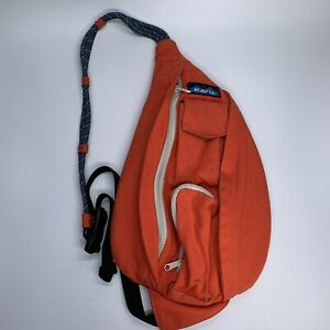 KAVU Mini Rope Bag Orange Cotton Crossbody Sling Purse Backpack